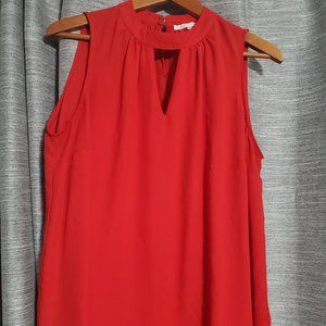 4for$25 Red Sleeveless Blouse with Keyhole Front